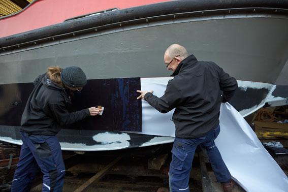 Antifouling Folie Lotsenboot